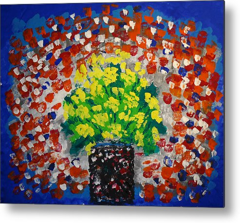 Monday Flowers Metal Print featuring the painting Monday Flowers by Norma Poulos