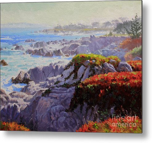 Monteray Bay Metal Print featuring the painting Monteray Bay Morning 2 by Gary Kim