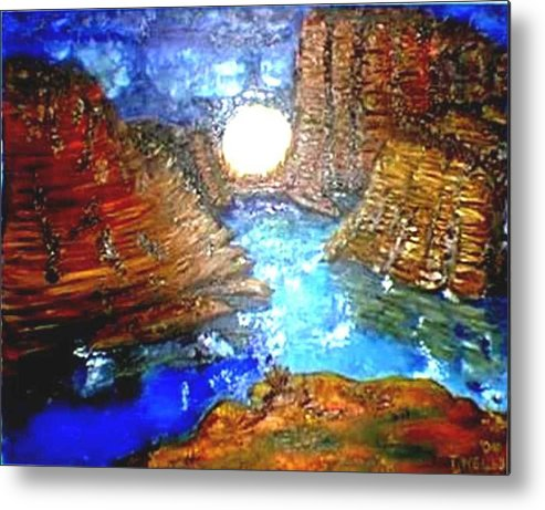 Moon Metal Print featuring the print Moon In The Grand Canyon by Tanna Lee M Wells