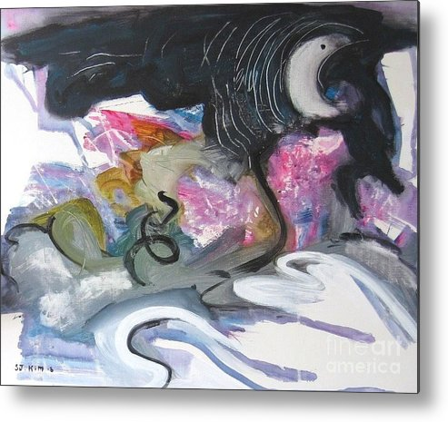 Abstract Paintings Metal Print featuring the painting Moonlight Fever by Seon-Jeong Kim