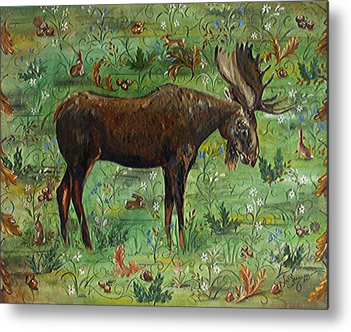 Moose Metal Print featuring the painting Moose Tapestry by Theresa LaBrecque