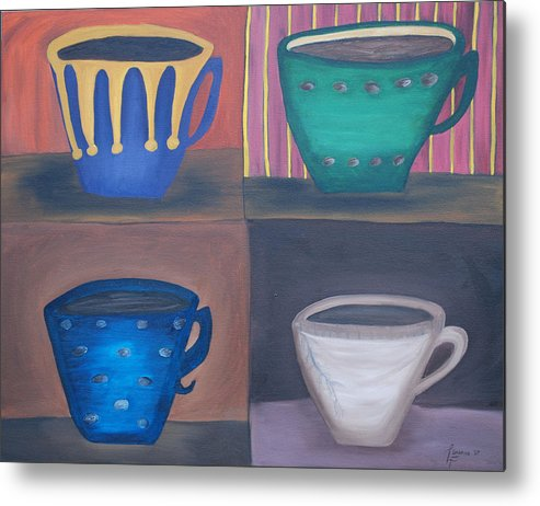 Coffee Cups Metal Print featuring the painting Morning Coffee by Lisa Gabrius