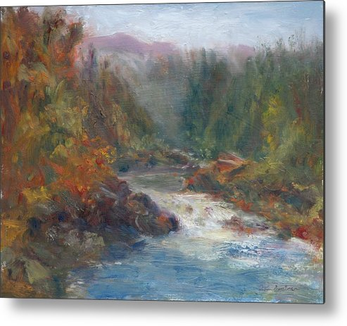 Quin Sweetman Metal Print featuring the painting Morning Muse - Original Contemporary Impressionist River Painting by Quin Sweetman