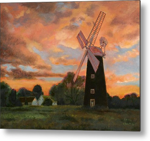 Windmill Metal Print featuring the painting Morning Sky by Keith Gantos