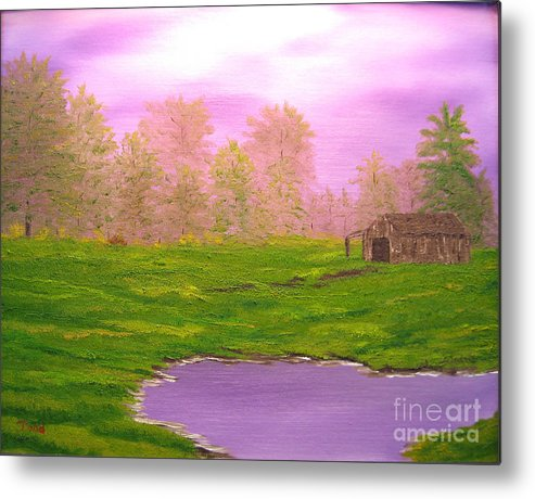 Lanscape Metal Print featuring the painting Morning Storm by Todd Androy