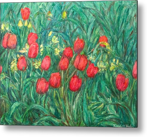 Kendall Kessler Metal Print featuring the painting Mostly Tulips by Kendall Kessler