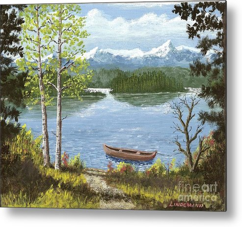Mountain Metal Print featuring the painting Mountain Lake by Don Lindemann