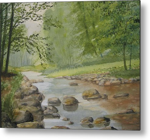 Landscape Metal Print featuring the painting Mountain Stream by Shirley Braithwaite Hunt
