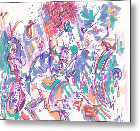 Abstract Metal Print featuring the drawing Movement In B Flat by Wayne Monninger