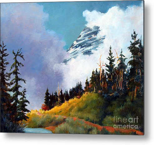 Landscape Metal Print featuring the painting Mt. Rainier In Clouds by Marta Styk