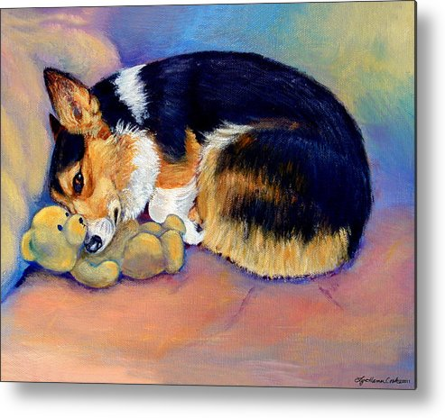 Pembroke Welsh Corgi Metal Print featuring the painting My Baby Pembroke Welsh Corgi by Lyn Cook