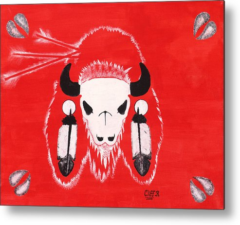 Buffalo Metal Print featuring the painting My First Kill by Cliff Rabbitskin