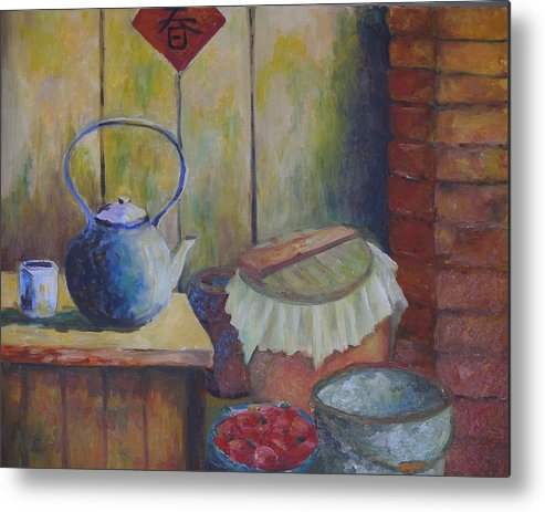 Still Life Metal Print featuring the painting My Grandma's Kitchen by Wendy Chua