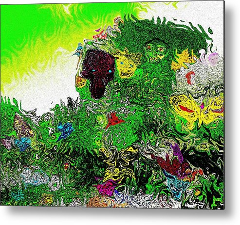 Garden Metal Print featuring the painting My Strange Wonderful And Somewhat Creepy Garden by Cliff Wilson
