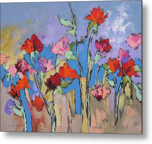Garden Metal Print featuring the painting Mystical by Linda Monfort