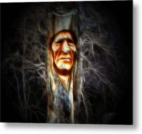 Native Metal Print featuring the photograph Native Carving by Gene Praag