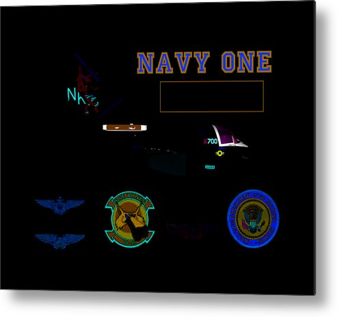 Aviation Metal Print featuring the digital art Navy One by Mike Ray