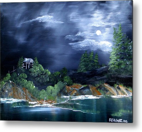 Landscapes Metal Print featuring the painting Night Sky by Rebecca Fitchett