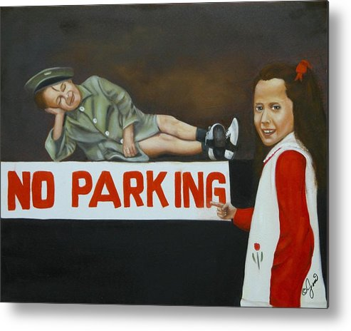 Child Metal Print featuring the painting No Parking by Joni McPherson
