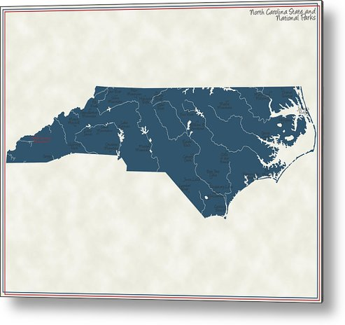 North Carolina Metal Print featuring the digital art North Carolina Parks - V2 by Finlay McNevin