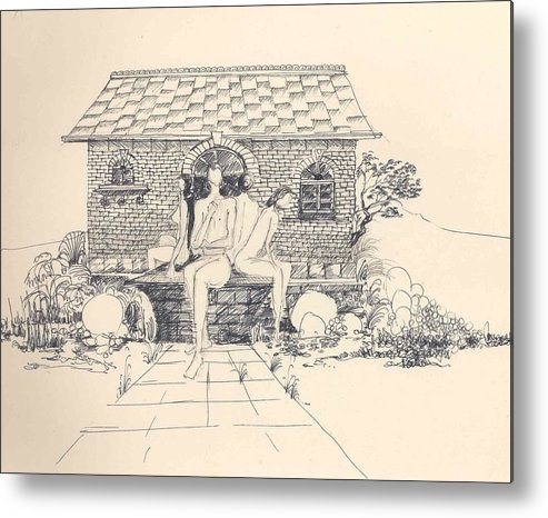 Nudes Metal Print featuring the drawing Nudes Some Rocks And A Cottage by Padamvir Singh