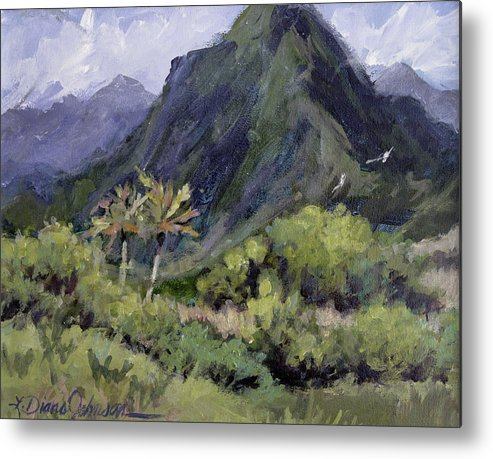 Hawaii Mountain Metal Print featuring the painting Oahu Valley by L Diane Johnson