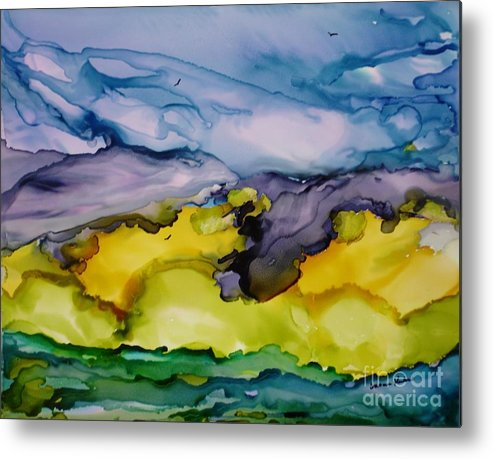 Landscape Metal Print featuring the painting Ocean View by Susan Kubes