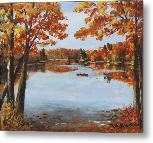 Walden Pond Metal Print featuring the painting October Morn At Walden Pond by Jack Skinner