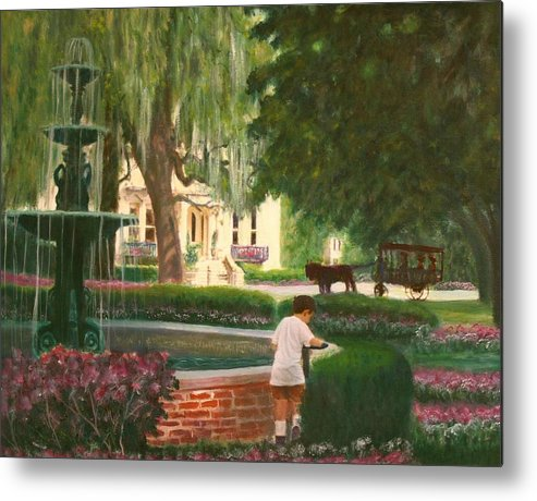 Savannah; Fountain; Child; House Metal Print featuring the painting Old And Young Of Savannah by Ben Kiger