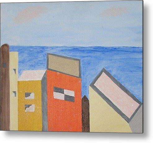 Seaside Metal Print featuring the mixed media Old Buildings At The Seashore by Harris Gulko