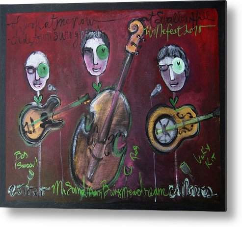 Live Painting Metal Print featuring the painting Olde Town Swing Band by Laurie Maves ART