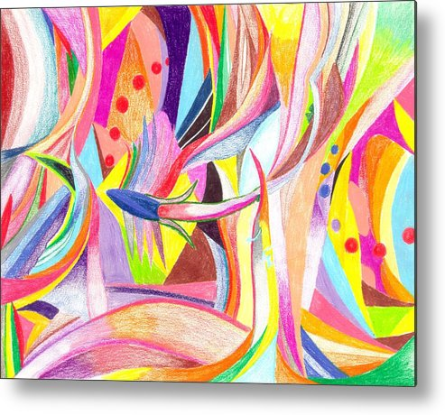 Abstract Metal Print featuring the drawing Optimism by Peter Shor