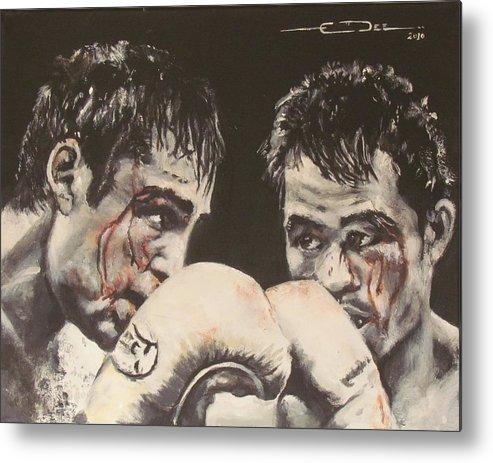 Oscar De La Hoya Vs Manny Pacquiao. Sports. Boxing. Pac Man Metal Print featuring the painting Oscar De La Hoya Vs Manny Pacquiao by Eric Dee