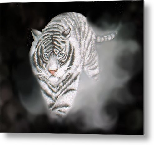 Tiger Metal Print featuring the painting Out Of The Night by Darlene Green
