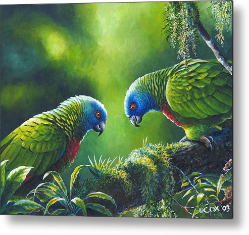 Chris Cox Metal Print featuring the painting Out On A Limb - St. Lucia Parrots by Christopher Cox