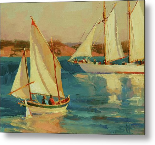 Sailboat Metal Print featuring the painting Outing by Steve Henderson