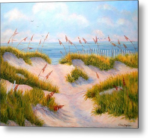 Ocean Metal Print featuring the painting Over The Dunes by Elaine Bigelow