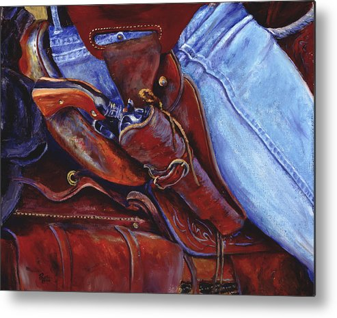 Pistol Metal Print featuring the painting Packin by Page Holland