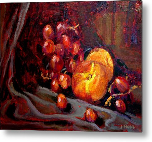 Fruit Metal Print featuring the painting Peaches And Grapes by Brian Simons