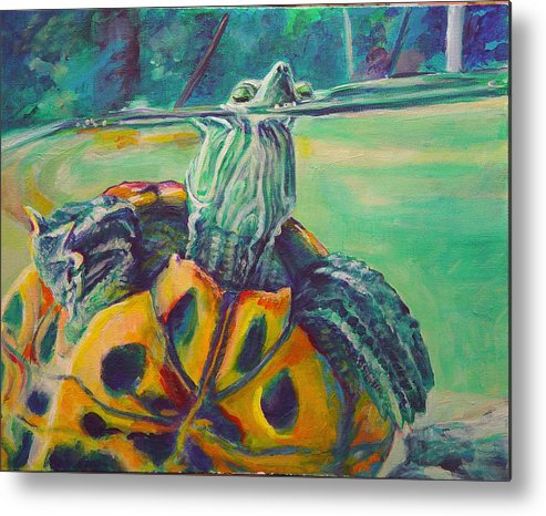 Turtle Metal Print featuring the painting Peeking by Gail Wartell