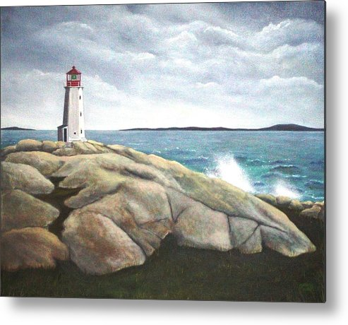 Original Painting Of Lighthouse Metal Print featuring the painting Peggys Light Nova Scotia by Sharon Steinhaus