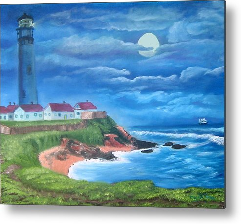 Lighthouse Metal Print featuring the painting Pigeon Point Lighthouse Ca by Mary Kaser