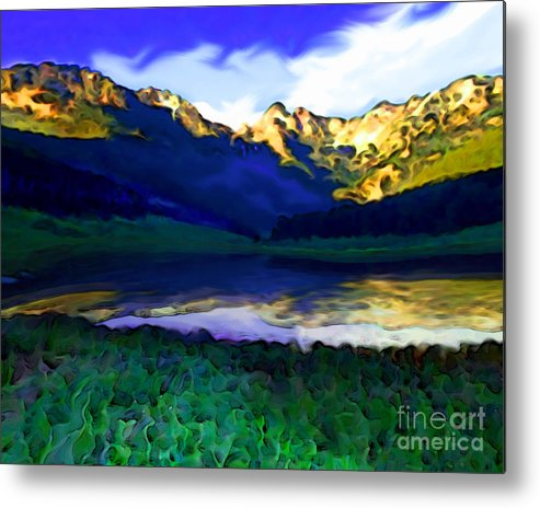 Sunset Metal Print featuring the painting Piney Mountain by Mike Massengale