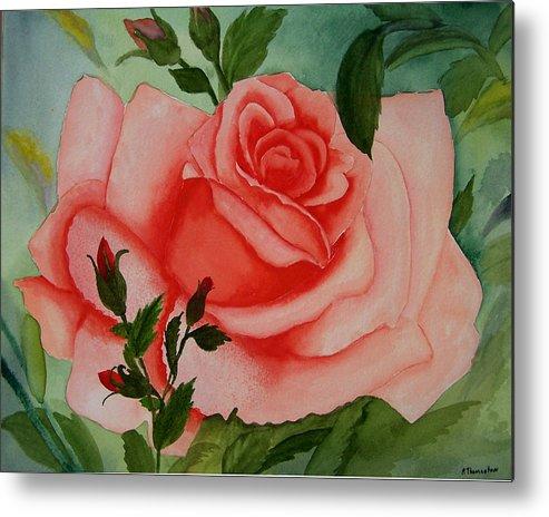 Pink Rose Metal Print featuring the painting Pink Rose by Robert Thomaston