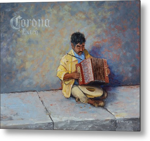 Mexico Metal Print featuring the painting Playing For Pesos by Jerry McElroy