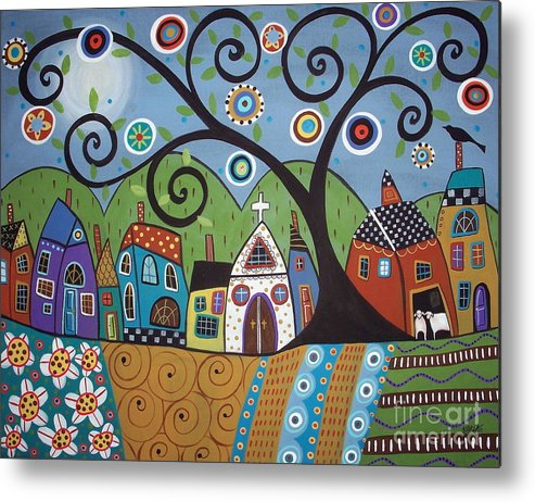 Church Metal Print featuring the painting Polkadot Church by Karla Gerard
