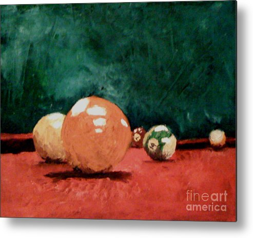 Pool Metal Print featuring the painting Pool Table 2 by Simonne Mina