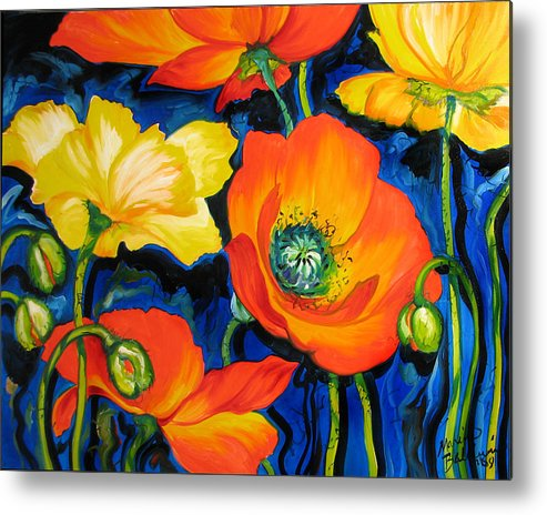 Poppy Metal Print featuring the painting Poppies by Marcia Baldwin
