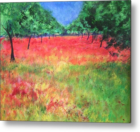 Original Landscape Painting. Poppy Field Metal Print featuring the painting Poppy Field II by Lizzy Forrester