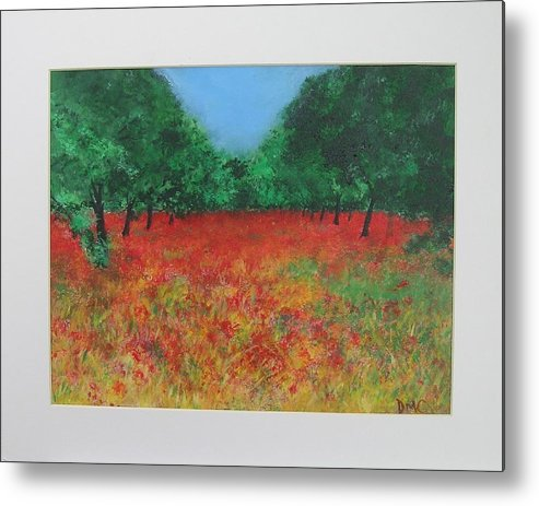Poppy Metal Print featuring the painting Poppy Field In Ibiza by Lizzy Forrester
